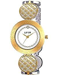 SPYN Women's Analogue White Dial Watch - SPYNGold0010-White