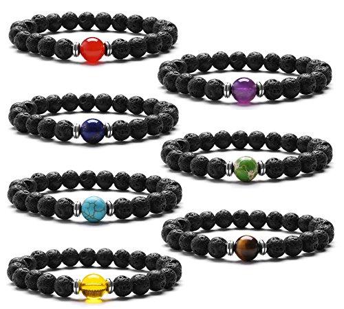 J.Fée 7 Pack Heilung Edelstein Kristall Elastisch Yoga Strecken Armband Lava Stein ätherisches Öl Diffusor Aromatherapie Armband Serie