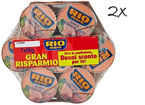 14x Rio Mare Tonno all'olio di oliva 2x Mega pack Thunfisch in Olivenöl 7 x 80g