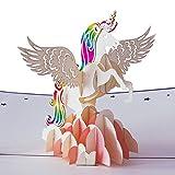 3D Geburtstagskarte 'Einhorn Regenbogen', Karte zum Geburtstag, Geburtstagsgeschenk für Frauen, für Männer, Geschenkkarte, kreativ handgefertigt, kindergeburtstag, mit Umschlag und Folie, Pop Up Karte