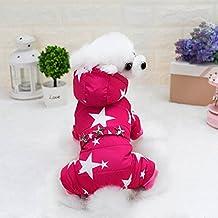 Fulltime(TM)-Invierno Lindo Abrigo Caliente de Algodón Impresa Estrellas para Perro Mascota (M, Rosa Caliente)