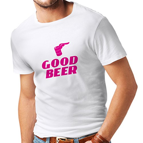 lepni.me N4058 T-shirt pour hommes I need a Good BEER (Small Blanc Magenta)