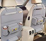ZXFSD Luxus - Auto Platz Tasche Klapptisch Klammer Tablett Flasche Rack Multifunktions - Beschützer Tasche Tritt Fuß Pad Reisezubehör Pu - Leder,Grau - Standard