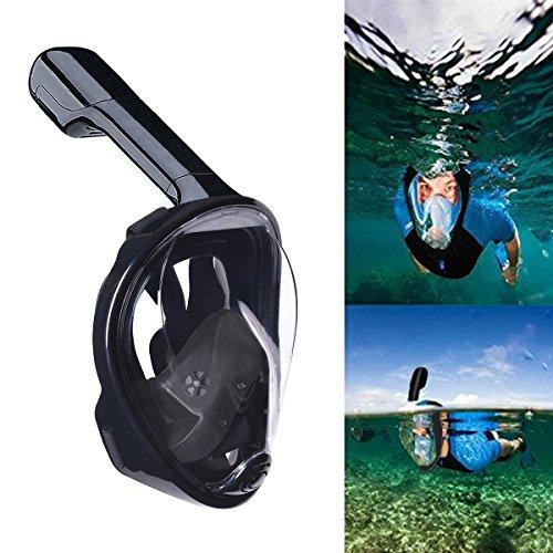 Máscara de Buceo,QcoQce Snorkel Máscara con 180 Grados de Vision, Snorkel Máscara Plegable con Sorporte para Gopro Fácil respiración Máscara facial completa Anti-niebla y anti-fugas para Adultos y Niños. (Negro S/M)