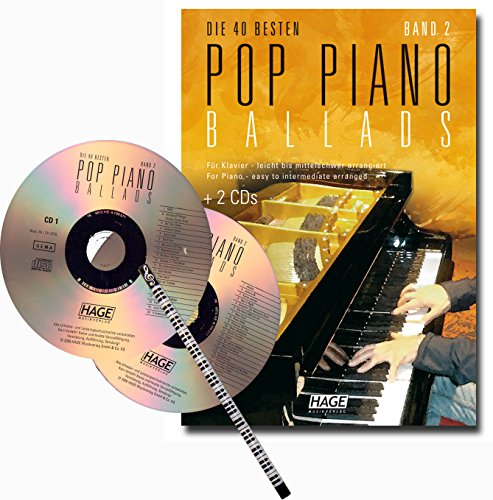 DIE 40 BESTEN POP-PIANO BALLADS BAND 2 – der unverzichtbare Begleiter für Festlichkeiten mit zwei CDs und Klavier-Bleistift [Noten/sheet music} (Saxophon Yamaha Für Kinder)