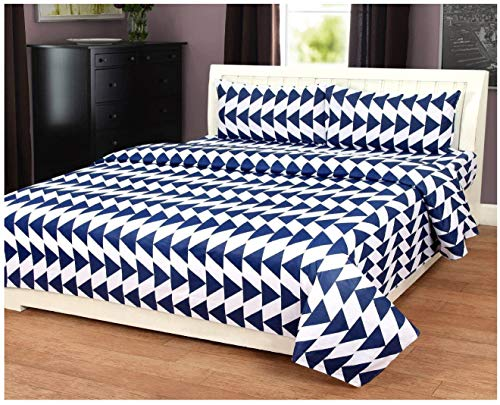 Shivya Home 220 tc 100% Cotton Double bedsheets with 2 Pillow Covers(White Patti)