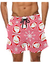 dfd2c2aa7f Bennigiry Men's Christmas Santa Claus Chevron Surf Swim Trunks Quick Dry  Beach Pants Board Shorts