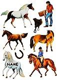 Unbekannt 8 tlg. Set _ Fensterbilder -  Pferde & Reiter  - Incl. Name - Sticker Fenste..