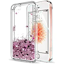 Cover IPhone 5S,LeYi Cover IPhone 5,Custodia scintillante iPhone SE con schermo HD,Donne Ragazze Slim Fit Glitter Liquid Quicksand Custodia trasparente TPU Cover Custodia IPhone 5S / SE / 5 Rose Gold