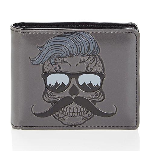 Shagwear - Monederos para hombre jóvenes: Varios colores y diseños: (Cráneo Hipster/Hipster Skull)