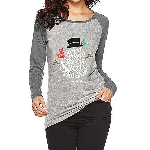 Preisvergleich Produktbild Tianwlio Damen Lässige Langarmshirt Hoodie Pullover Mode Weihnachten Schneemann T-Shirt Bluse Tops mit Sieben Vierteln Gedruckt Blusen Grau L
