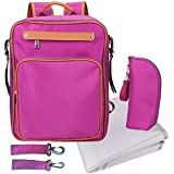 Baby Diaper Bag Backpack With Changing Pad Insulated Sleeve Stroller Strap Cute Small For Girl Purple