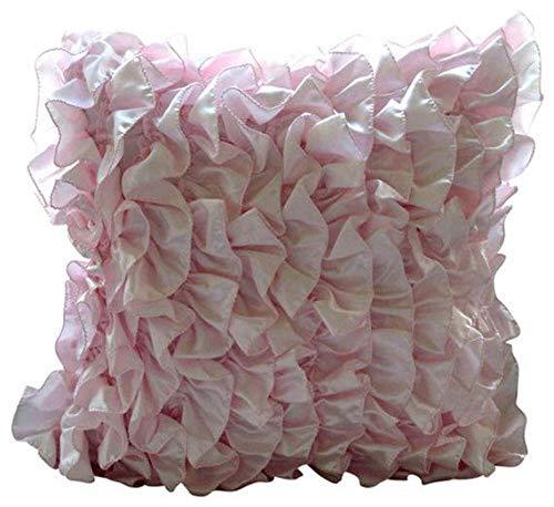 Entwerfer Soft Pink Euro Shams, 65x65 cm Euro-Kissen, Vintage Style Rüschen Shabby Chic Euro Kissen Shams, Satin Euro-Schein-Abdeckungen, Solide Zeitgenössisch Euro Shams - Vintage Soft Pink -