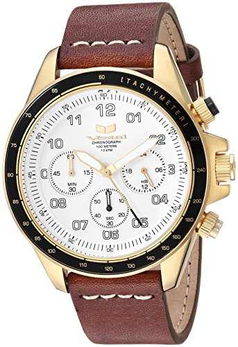 Vestal 'ZR2' Quartz Stainless Steel and Leather Casual Watch, Color:Brown (Model: ZR243L28.BRWH)