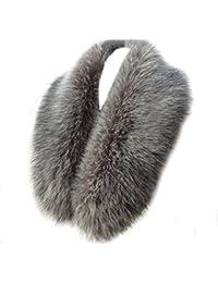 Hikong 82cm Sciarpa Ecopelliccia di Volpe Donna Fazzoletto da Collo Staccabile Collo Scaldino Collare per Cappotti Scialle Inverno + 10pcs Bottoni
