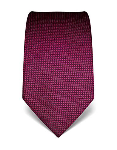 Vincenzo Boretti Herren Krawatte reine Seide Karo Muster kariert edel Männer-Design gebunden zum Hemd mit Anzug für Business Hochzeit 8 cm schmal/breit fuchsia