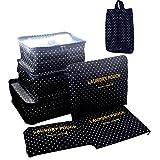 Samtaiker 7 pezzi set-3 Imballaggio Cube + 3 + 1 sacchetto pattini borsa comprimere i vestiti durante il viaggio (Onda punto)