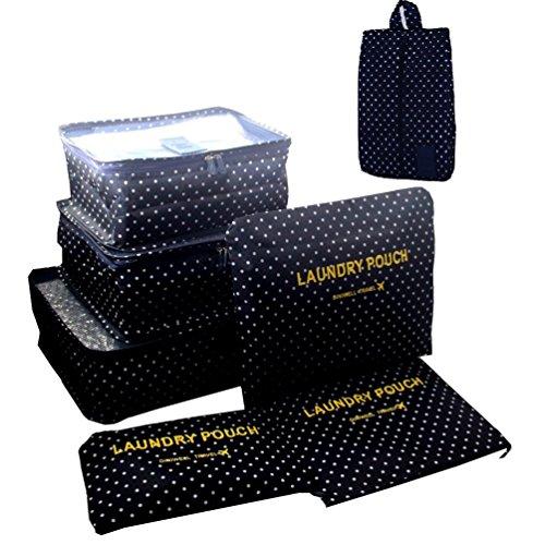 chen-Set 7 teilig -3 Verpackungs Würfel+3 Aufbewahrungstasche +1 Schuhbeutel Reisetasche in Koffer Wäschebeutel während der Reise (Wellenpunkt) (Bike-reise-koffer)