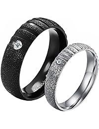 8acda54c6cd0 JewelryWe Joyería Par de Alianzas de Boda Anillos de Compromiso Originales