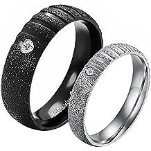 JewelryWe Joyería Par de Alianzas de Boda Anillos de Compromiso Originales, De Moda
