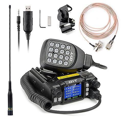 QYT KT-7900D Mini Mobile Transceiver Quad Band 136~174/400~480MHz /220~260MHz/350~390MHz Amateur Car Radio+NL-R2 144/430 MHz Dual Band Mobile Antenna -