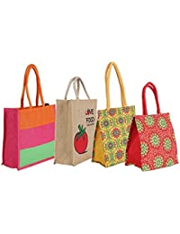 CSM Jute Bag/Lunch Bag/Shopping Bag - Combo Of 4 Printed Multipurpose Jute Bags …