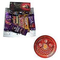 SFU E Com Holi Chocolate Basket Hamper   Holi Special Chocolate Gift   Premium Chocolate Hamper   Holi Pooja Thali   Pack of Chocolate Box-1   48