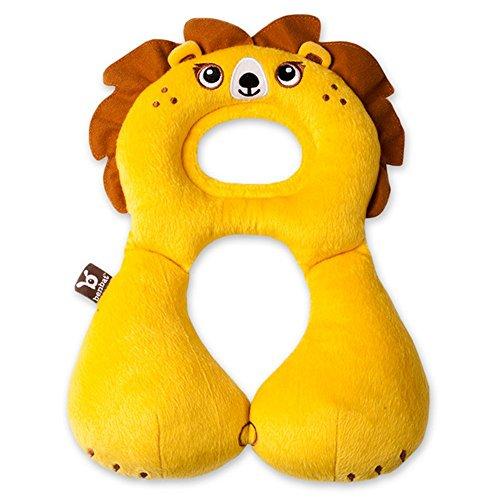 Pjx - Cuscino multiuso per bambini, poggiatesta, supporto per il collo, cuscino per seggiolino auto, da viaggio, per bambini da 1a4anni giallo Lion