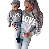PINEsong Mutter und Kind Lange Ärmel Buchstaben Bluse Tops T-Shirt Familie Kleider Outfits (80, Weiß(Kind))