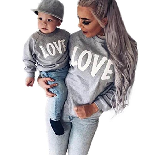 PINEsong Mutter und Kind Lange Ärmel Buchstaben Bluse Tops T-Shirt Familie Kleider Outfits (80, Weiß(Kind)) (Plaid Shirt Kleid Pocket)