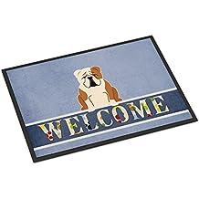 Caroline tesoros del bb5706mat marrón blanco Bulldog Inglés Bienvenido Felpudo, 18x 27, multicolor