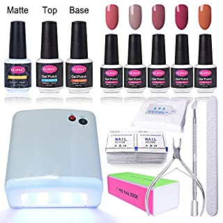 CLAVUZ Gel Nail Polish Kits with UV Light Lamp Top Coat Base Coat New Starter Manicure Pedicure Nail Art Tool Sets