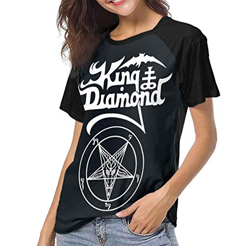 Bagew Damen T-Shirt Mit Rundhalsausschnitt, King Diamond The Graveyard Women\'s Casual Short Sleeve T-Shirts Crew Neck Wicking Baseball Tee Tops