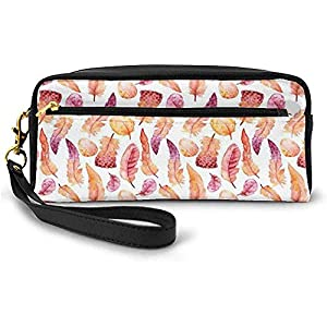 Plumas con Marcas de Pincel Dibujado a Mano Ilustración de la Naturaleza Inspiraciones étnicas Pequeña Bolsa de Maquillaje con Cremallera Estuche de lápices 20cm * 5.5cm * 8.5cm