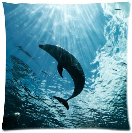 Elegant Comfort Luxurious Silky Soft Deep Sea Dolphin Zippered Pillow Case 18x18 inch (one side)