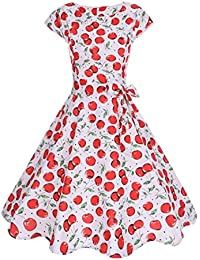 9631693a2a9eb Italily Donna Vestito Promenade del Partito Sera Casuale Manica Corta  Aderente Stampa delle Retro Abito Sera Stampa Ciliegia Hepburn Swing Abito…