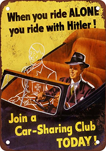 1943 Hitler and Car-Sharing Club, Reproduktion, Vintage-Look, Metall