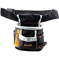 SYCEES Bolsa herramientas con cinturón para herramientas manuales y eléctricas para electricista, Material de oxford 600D duro y resistente al desgaste,Color Negro