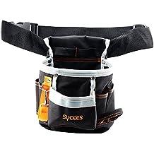 SYCEES Bolsa herramientas con cinturón para herramientas manuales y eléctricas para electricista , Material de oxford 600D duro y resistente al desgaste,Color Negro