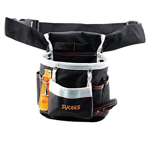 SYCEES-Bolsa-herramientas-con-cinturn-para-herramientas-manuales-y-elctricas-para-electricista-Material-de-oxford-600D-duro-y-resistente-al-desgasteColor-Negro