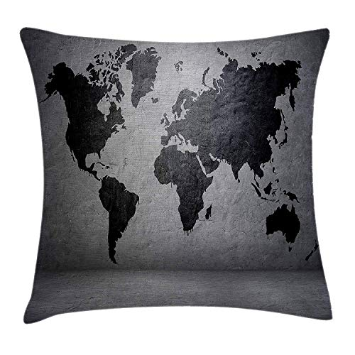 Dark Grey Throw Pillow Cushion Cover, Black Colored World Map on Concrete Wall Image Urban Structure Grungy Rough Look, Decorative Square Accent Pillow Case, 18 X 18 inches, Grey Black