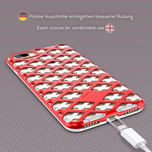 URCOVER® Mesh Cover Case Coque Telephone | Apple iPhone 7 Plus | Plastique in Noir / Bleu foncé | Housse Double-Couche Ultra-fine Étui Hybrid Anti-choc Protectrice Thin Protection Blanc / Rouge