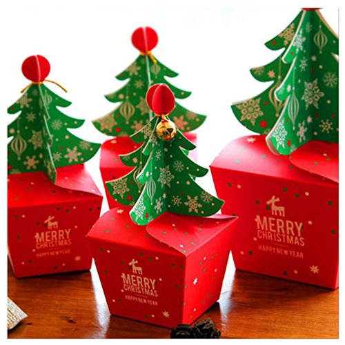 Rzctukltd 10PCS Christmas Party Paper Favour Gift Cupcake Xmas Sweets Carrier Bags Boxes (Xmas Tree Bell)