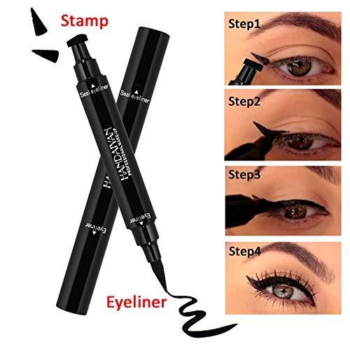 Sello delineador de ojos 2 en 1,  líquido negro para ojos de gato,  lápiz de ala de larga duración,  impermeable,  a prueba de manchas,  natural y suave,  1 paquete