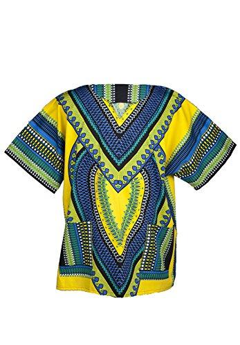 Lofbaz - Unisex Dashiki - Traditionelles Oberteil mit afrikanischem Druck - Size M Heart Gelb