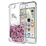 iPod Touch 6th / 5th Generation Case Glitter with HD Screen Protector, LeYi Luxury Liquid Sparkly Bling Quicksands Cute Clear Transparent TPU Gel Silicone Scratch-Proof Shockproof Protective Phone Cover Hard Shell Case for Apple iPod Touch 5th iPod 6th Generation ZX Rose Gold (Pink)