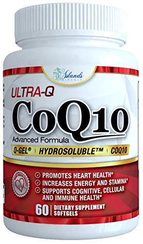 CoQ10 Ultra Absorption – Patented Water and Fat Soluble Hydrosoluble – Best Ubiquinone Coenzyme Q10 100mg capsule 60 Day Supply