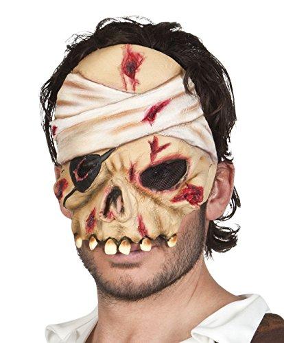 Halloweenia - Halloween Kostüm Latex Halbe Maske Zombie Pirat Erwachsenen Maske, (Party Wear Gold Halb Maske)