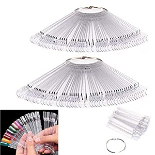 Ardisle 2 Packs of 50 X Nail Art Tips Colour Sticks Display Fan Practice Starter Clear Polish Wheel Hand