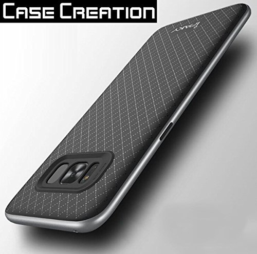Case Creation TM iPaky Premium TPU+PC Hybird Armor Military Grade Protective Back Bumper Case Cover for Samsung Galaxy S8 -5.8inch (Dark Pitch Black)